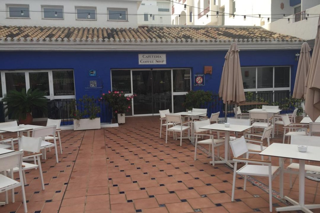 Coffee shop with outdoor seating at Hotel PYR, Puerto Banus